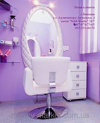 Парикмахерское кресло Orlando, Дизайнерское рабочее место MT-1081, Тележка мастера Rialto, Подставка для ног S-080