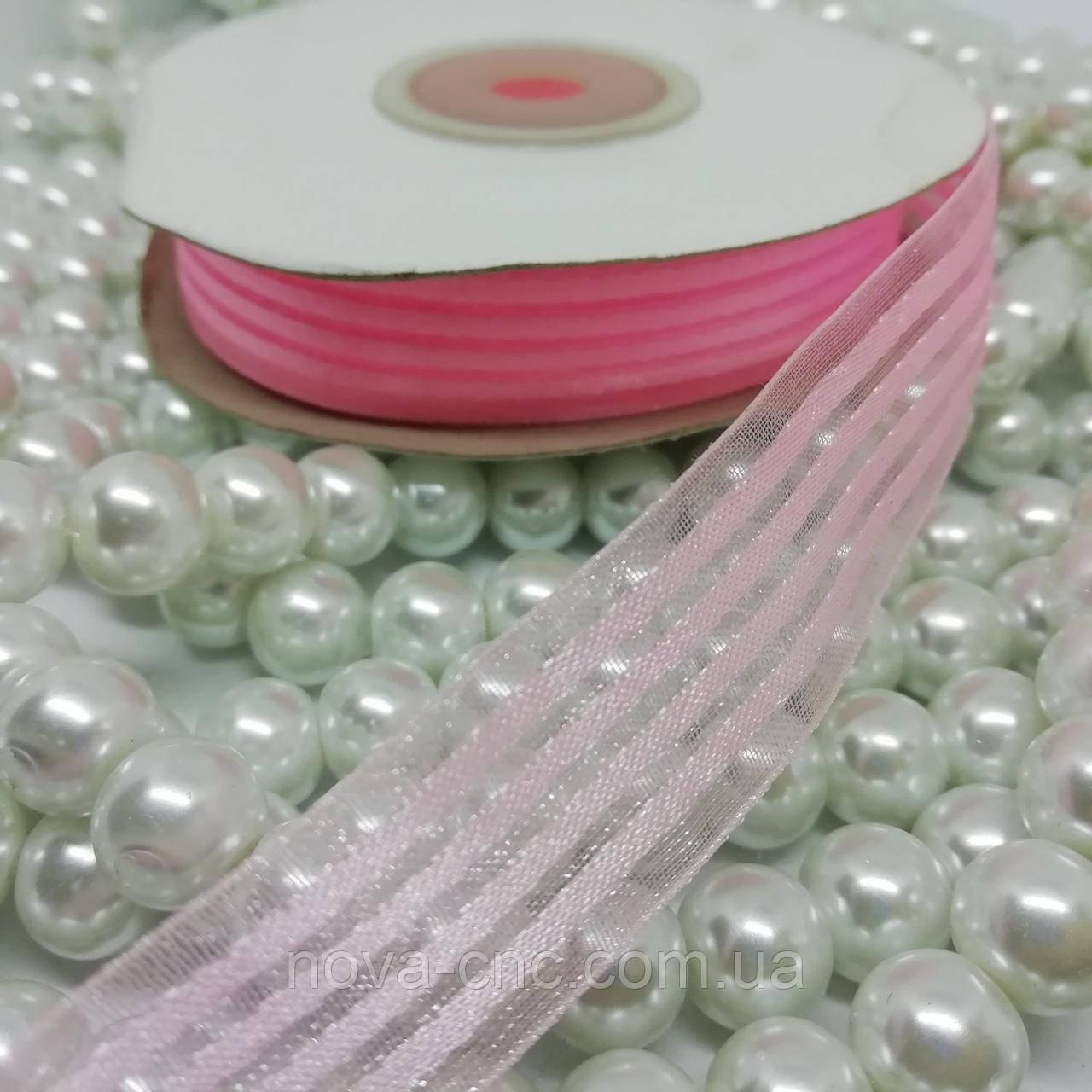 Стрічки органза з атласом смуга Колір рожевий 18 мм 23 м
