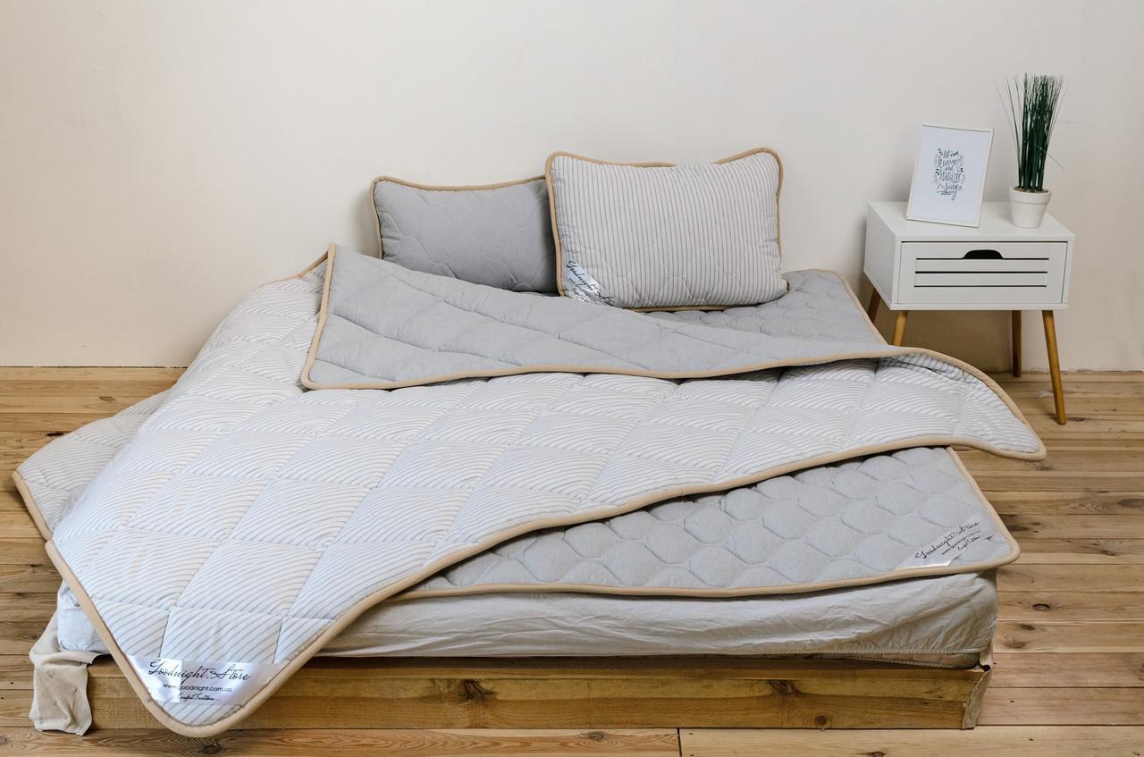 Комплект постельного белья двухспальный шерсть мериноса серый в полоску