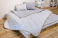 Комплект постельного белья из шерсти мериносов евро серый в полоску