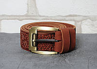 Кожаный качественный рыжий ремень с тисненым орнаментом
