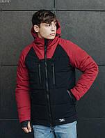 Куртка мужская зимняя черная с красным теплая брендовая Staff Стафф