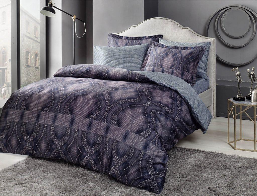 Комплект постельного белья Tac Bamboo Freja V01 lacivert евро синий