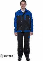 Костюм робочий (куртка напівкомбінезон) CENTER-01S синій-чорний