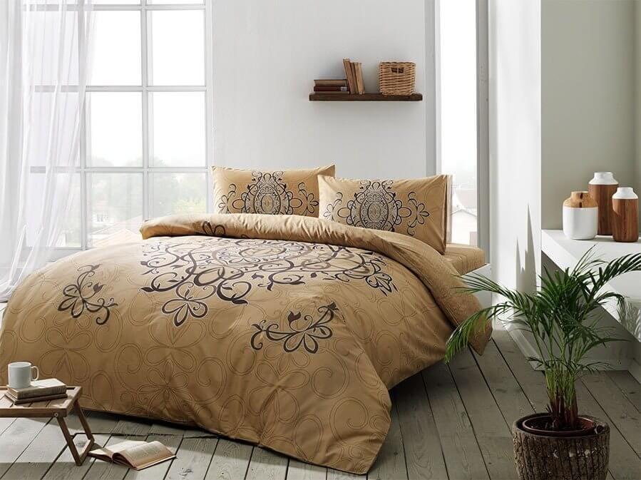 Комплект постельного белья Tac ранфорс Blanda V03 gold евро золотой