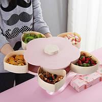 Вращающаяся тарелка-органайзер для закусок фруктов и сладкого