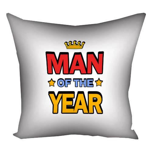 Подушка с принтом Man of the year 30x30, 40x40, 50x50 (3P_MAN007)