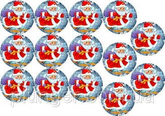"""Вафельная картинка для для торта, кондитерских изделий """"Дед мороз"""", круглая (лист А4) 5"""