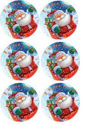 """Вафельная картинка для для торта, кондитерских изделий """"Дед мороз"""", круглая (лист А4) 6"""