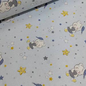Фланелевая ткань спящие мишки со звездами на голубом,W (шир. 2,4 м)