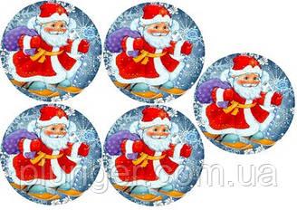 """Вафельная картинка для для торта, кондитерских изделий """"Дед мороз"""", круглая (лист А4) 8"""