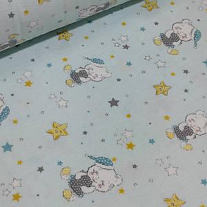 Фланелевая ткань спящие мишки со звездами на мятном,W (шир. 2,4 м)