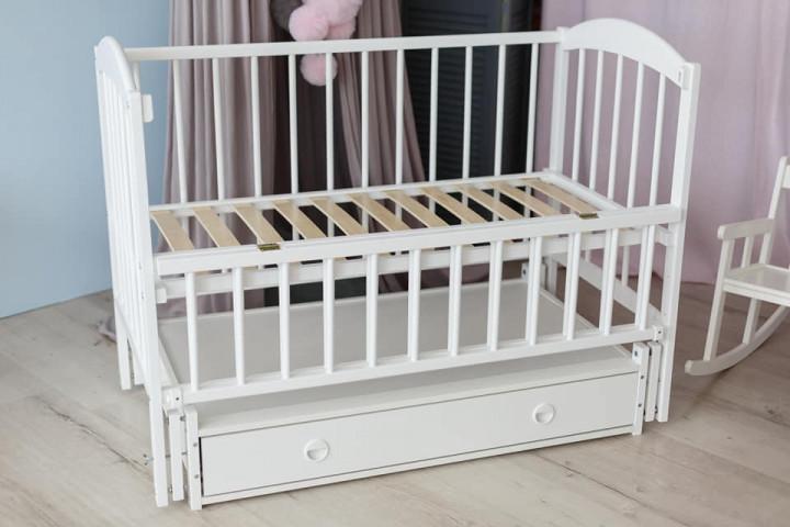 Дитяче ліжко-колиска Лілія Кузя, з шухлядою та відкидною боковинкою біле