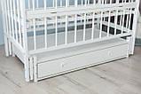 Дитяче ліжко-колиска Лілія Кузя, з шухлядою та відкидною боковинкою біле, фото 3