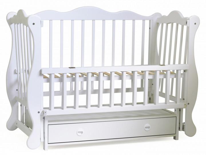 Кроватка для новорожденных с маятниковым механизмом Юлия с ящиком Белая