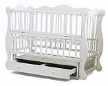 Кроватка для новорожденных с маятниковым механизмом Юлия с ящиком Белая, фото 2