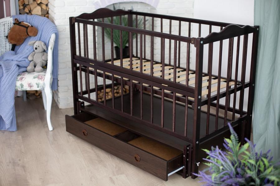 Дитяче ліжечко-гойдалка Ангеліна Кузя, з шухлядою та відкидною боковинкою венге