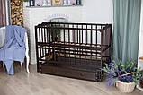 Дитяче ліжечко-гойдалка Ангеліна Кузя, з шухлядою та відкидною боковинкою венге, фото 2