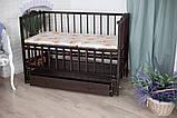 Дитяче ліжечко-гойдалка Ангеліна Кузя, з шухлядою та відкидною боковинкою венге, фото 3