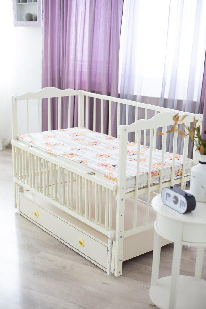 Дитяче ліжечко-гойдалка Ангеліна Кузя, з шухлядою та відкидною боковинкою слонова кістка