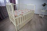 Дитяче ліжечко-гойдалка Ангеліна Кузя, з шухлядою та відкидною боковинкою слонова кістка, фото 2