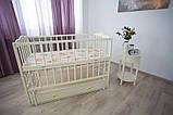Дитяче ліжечко-гойдалка Ангеліна Кузя, з шухлядою та відкидною боковинкою слонова кістка, фото 3