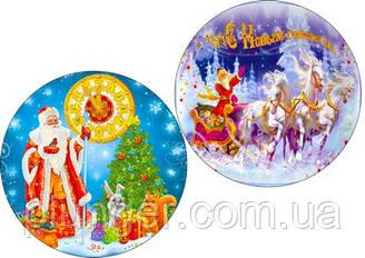 """Вафельная картинка для для торта, кондитерских изделий """"Дед мороз"""", круглая (лист А4) 11"""