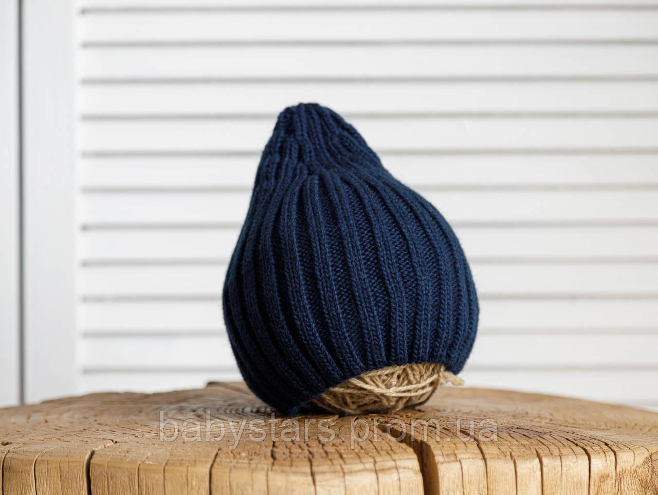 """Детская вязаная шапка """"Alen"""", синяя"""