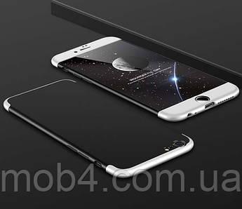 Пластиковый чехол накладка LikGus 360 для чехол накладка для Apple iPhone 6/6S Plus (черный-серебро)
