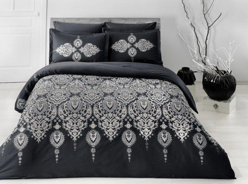 Комплект постельного белья Tac сатин Delux Rados V01 siayh евро черный