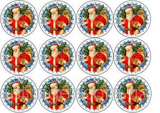 """Вафельная картинка для для торта, кондитерских изделий """"Дед мороз"""", круглая (лист А4) 14"""