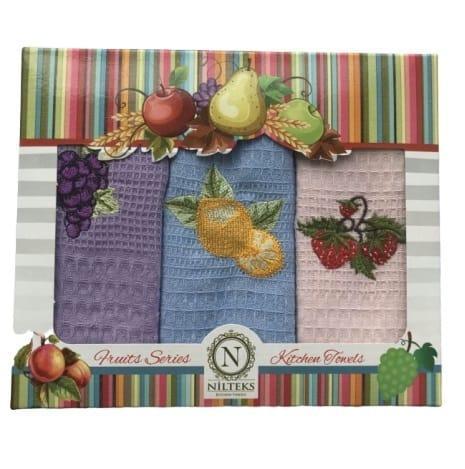 Набор кухонных полотенец Nilteks эконом Fruits Series V02 40*60 3 шт