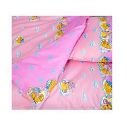 Постельное белье для новорожденных в детскую кроватку Теп Мишка розовый