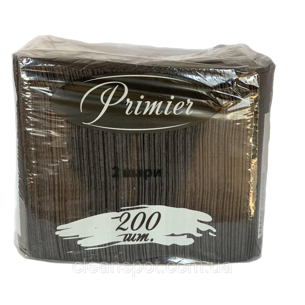 Салфетка чёрная столовая 33см 2-слойная 200 шт. Primier