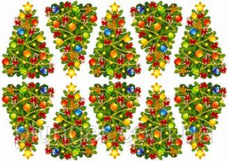 """Вафельна картинка для пирогів, тістечок топперов """"Ялинки"""", (лист А4) 3"""