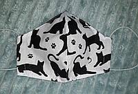 Защитная маска детская многоразовая  двухслойная тканевая