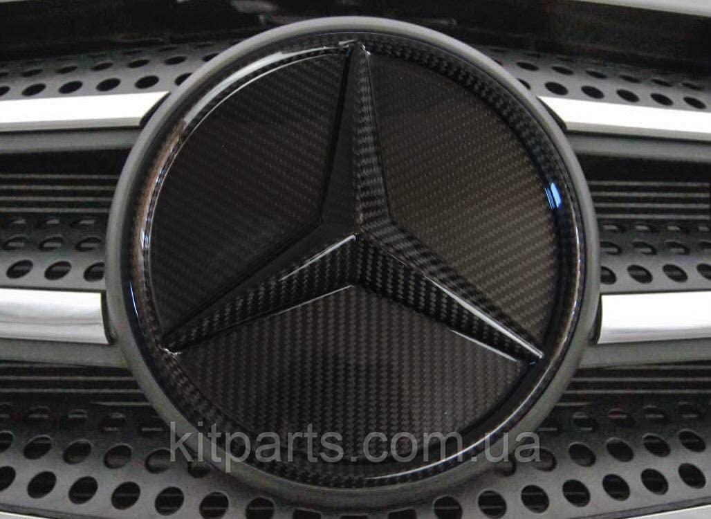 Mercedes W464 W166 W253 W212 W205 G GLE GLC GLK E C class карбонова емблема лого в решітку радіатора
