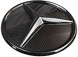 Mercedes W464 W166 W253 W212 W205 G GLE GLC GLK E C class карбонова емблема лого в решітку радіатора, фото 5