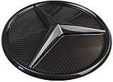 Mercedes W464 W166 W253 W212 W205 G GLE GLC GLK E C class карбонова емблема лого в решітку радіатора, фото 2