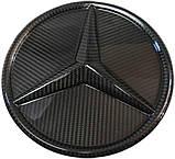 Mercedes W464 W166 W253 W212 W205 G GLE GLC GLK E C class карбонова емблема лого в решітку радіатора, фото 3