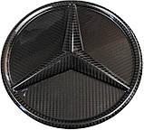 Mercedes W464 W166 W253 W212 W205 G GLE GLC GLK E C class карбонова емблема лого в решітку радіатора, фото 4