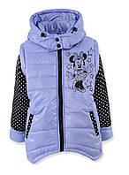 Демисезонная куртка-жилетка для девочки Микки, демисезонная куртка сиреневого цвета на девочку.