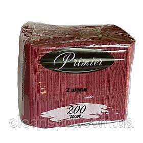 Салфетка бордовая столовая 33см 2-слойная 200 шт. Primier