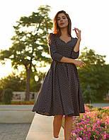 Женское черное платье миди в горошек