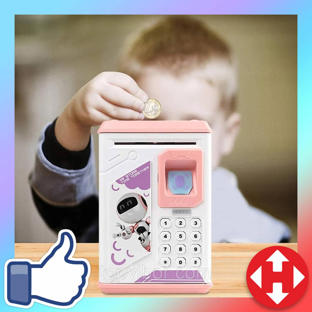 Игрушечный детский сейф с электронным кодовым замком для детей Fingerprint копилка детская (Розовая)