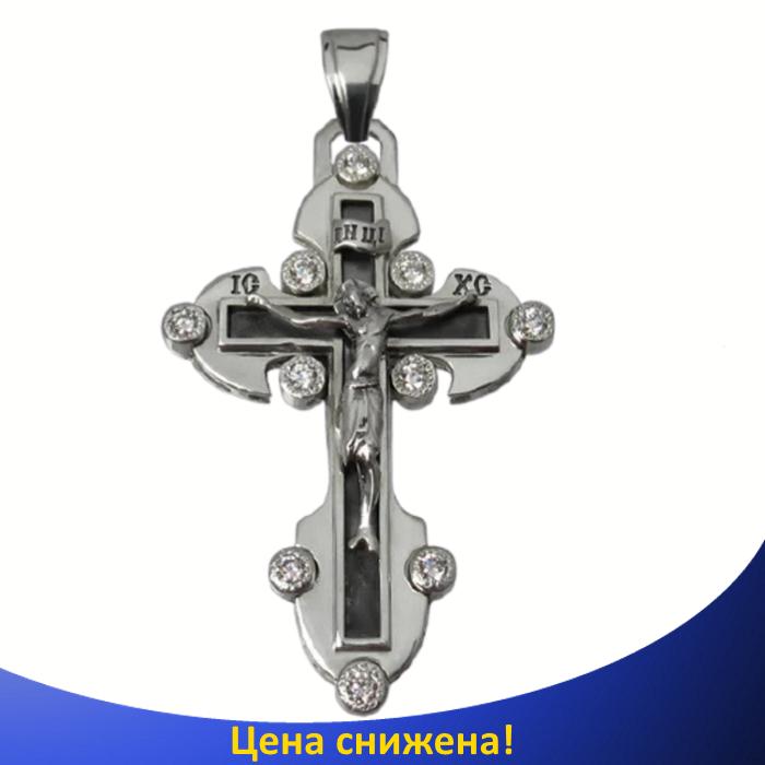 Серебряный крестик с фианитами - Нательный православный крестик из серебра 925 пробы