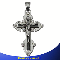 Серебряный крестик с фианитами - Нательный православный крестик из серебра 925 пробы, фото 1