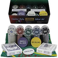Игра набор покерный 200 фишек, карты и полотно в металлической упаковки