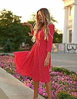 Женское красное платье миди в горошек