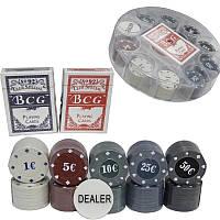 Игра покерный набор 100 фишек и карты в пластиковой упаковке